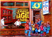 St.viateur Bagel Paintings - Bet You Cant Eat Just One by Carole Spandau
