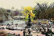 Park Digital Art Posters - Bethesda Fountain Central Park NYC Poster by Linda  Parker
