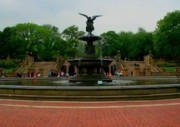 Central Park Prints - Bethesda Fountain in Central Park Print by Christopher Kirby