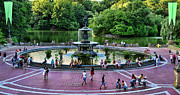 Central Park Prints - Bethesda Fountain overlooking Central Park Pond Print by Paul Ward