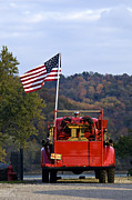 Flag Of Usa Prints - Bethlehem Fire Truck - D008199 Print by Daniel Dempster