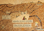 Bethlehem Prints - Bethlehem Mosaic Map Print by Munir Alawi