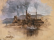 Second Industrial Revolution Framed Prints - Bethlehem Steel Works In May 1881 Framed Print by Everett