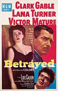 Clark Gable Framed Prints - Betrayed, Lana Turner, Clark Gable Framed Print by Everett