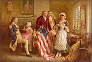 Flag Of Usa Painting Prints - Betsy Ross 1777 Print by Jean Leon Gerome Ferris