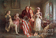 Flag Of Usa Prints - Betsy Ross, 1777 Print by Photo Researchers