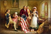 American Flag Painting Framed Prints - Betsy Ross and General George Washington Framed Print by War Is Hell Store