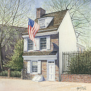 Betsy Ross Paintings - Betsy Ross House by Keith Mountford