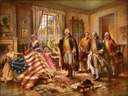 Betsy Ross Paintings - Betsy Ross Showing Flag to George Washington. by Pg Reproductions