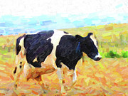 Pasture Digital Art Posters - Betsy The Milk Cow Coming Home Poster by Wingsdomain Art and Photography