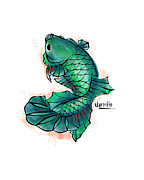 Betta Prints - Betta Green Print by Rose Rasmussen