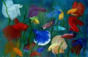 Colorful Fish Framed Prints - Bettas In Motion Framed Print by Debbie LaFrance