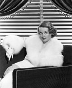 White Fur Prints - Bette Davis In The Mid 1930s Print by Everett
