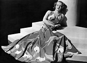 Full-length Portrait Posters - Bette Davis Wearing Gown With Calla Poster by Everett