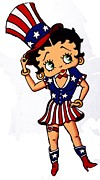 Independance Day Painting Framed Prints - Betty Boop Independace day Framed Print by Thomas Kolendra