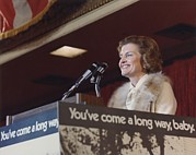 Microphones Prints - Betty Ford Speaks During A Candidates Print by Everett