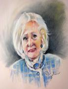 Pastel Portrait Framed Prints - Betty White in Boston Legal Framed Print by Miki De Goodaboom