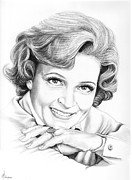 Famous Faces Drawings Prints - Betty White Print by Murphy Elliott
