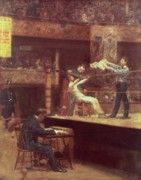 Ropes Paintings - Between Rounds by Thomas Cowperthwait Eakins