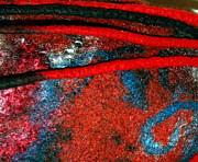 Red Tapestries - Textiles Framed Prints - Between The Felted Lines    Framed Print by Alexandra Jordankova