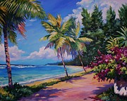 Caribbean Sea Painting Framed Prints - Between the Palms 20x16 Framed Print by John Clark