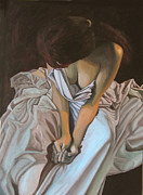 Deep In Thought Paintings - Between the sheets by Thu Nguyen
