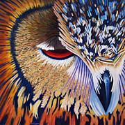 Owl Painting Metal Prints - Between Two Worlds Metal Print by Brian  Commerford