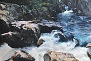 River View Drawings Metal Prints - Betws-y-Coed Waterfall Metal Print by Harry Robertson