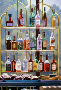 Alcoholic Beverages Posters - Beverly Hills Bottlescape Poster by Mary Helmreich