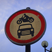 All Acrylic Prints - Beware - Car Jumping Motorcycles Ahead by Roberto Alamino