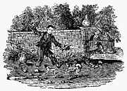 Bewick Prints - Bewick: Boy With Dogs Print by Granger
