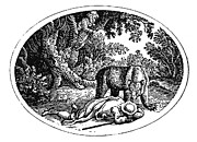 Bewick Framed Prints - Bewick: Man And Bear Framed Print by Granger
