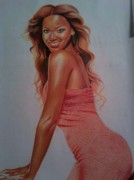 Jay Z Drawings - Beyonce by Keith Burnette
