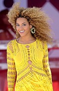 Hoop Earrings Posters - Beyonce Knowles Wearing A Julien Poster by Everett