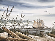 Tall Ship Painting Prints - Beyond Driftwood Shores Print by James Williamson
