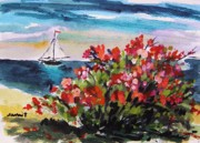 Sea Shore Drawings Prints - Beyond Sea Roses Print by John  Williams