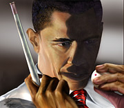 Barack Obama Painting Posters - Beyond Sharky Waters Poster by Reggie Duffie