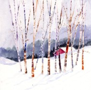 Beyond The Birch Thicket Print by Mimi Boothby