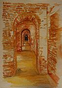 Brick Building Painting Framed Prints - Beyond The Black Door Framed Print by Julie Lueders