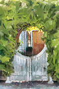 Painted Garden Gate Framed Prints - Beyond the Gate - A Scene from Mackinac Island Michigan Framed Print by Anne Kitzman