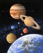 Planet System Painting Prints - Beyond the Home Planet Print by Lynette Cook