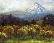 Mt Hood Posters - Beyond the Orchards Poster by Talya Johnson