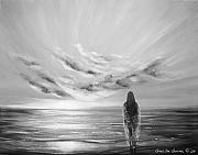 Warm Colors Paintings - Beyond the Sunset Black and White by Gina De Gorna