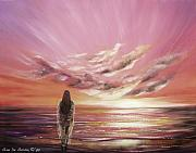Warm Colors Paintings - Beyond the Sunset by Gina De Gorna