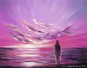 Warm Colors Paintings - Beyond the Sunset in Purple Color by Gina De Gorna