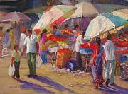 India Pastels Metal Prints - Bhuj Street Market Metal Print by Beth Brooks