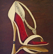 Shoe Mixed Media Prints - Bianco et Rosso Print by Josie De Meo