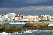 Surf Life Prints - Biarritz Beach Print by Argijale