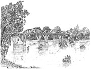 Alabama Drawings Prints - Bibb-Graves Bridge  Print by Barney Hedrick