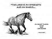 Shield Drawings Posters - Bible Verse With Drawing of Horse Poster by Joyce Geleynse